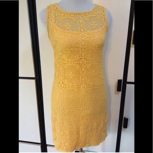 Bright yellow Laundry lace lined dress